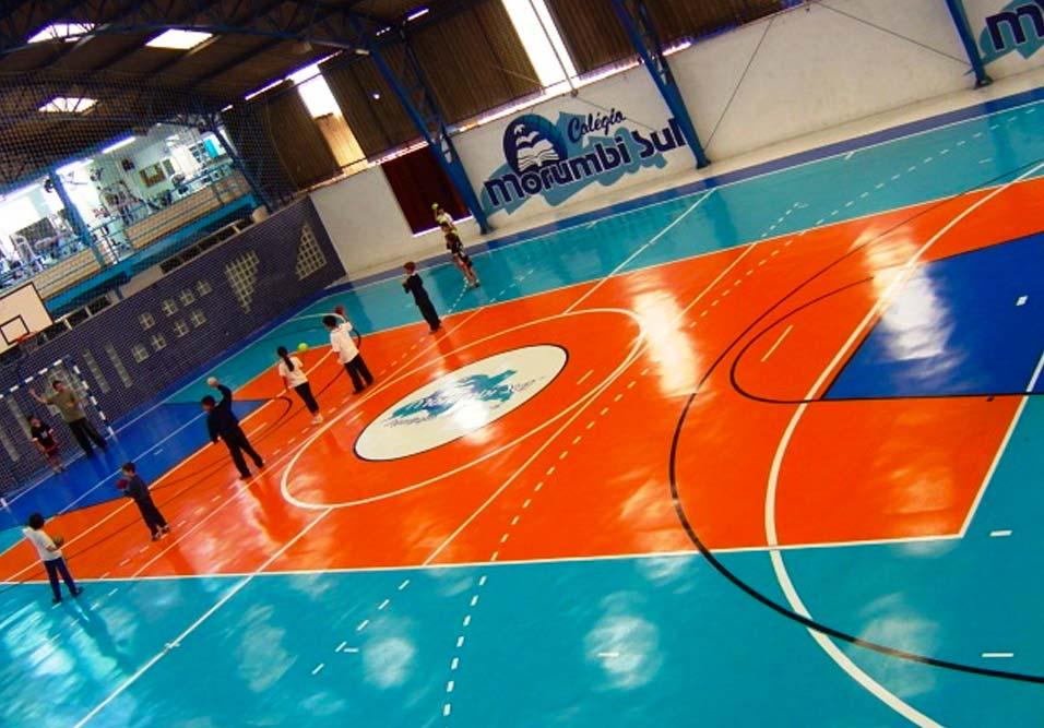 Foto - Quadra Poliesportiva piso poliuretano / epóxi.
