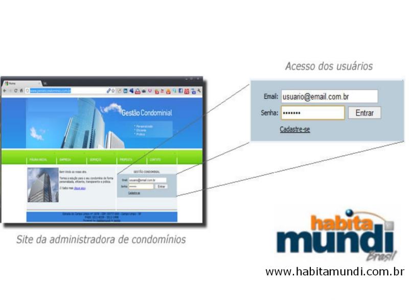 Foto - Software 100% online! Administre condomínios de qualquer lugar. Acesso ao sistema HabitaMundi através do site da sua administradora ou do condomínio. O banco de dados é hospedados no servidor ou datacenter de escolha do cliente. Os usuário acessam os módulos conforme as permissões criadas pelo administrador do sistema.