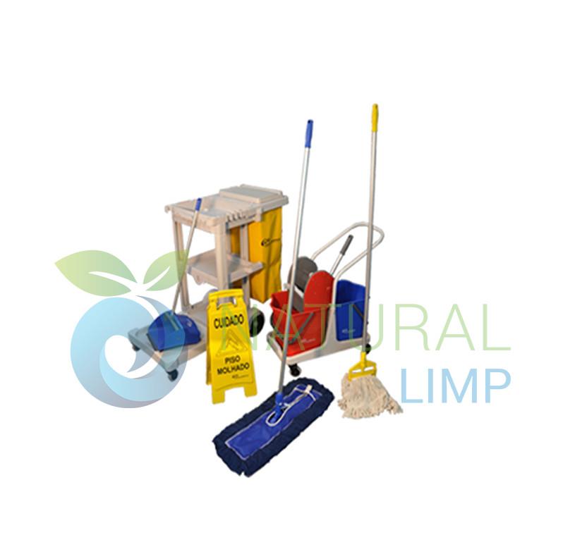 Foto - Kit de limpeza esfregão mop líquido balde espremedor placa sinalizadora piso molhado